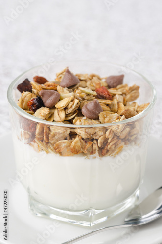 yogurt and granola with chocolate drops in a glass beaker