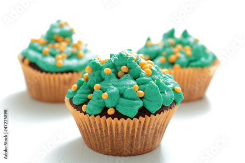 TASTY CUPCAKES ON WHITE BACKGROUND