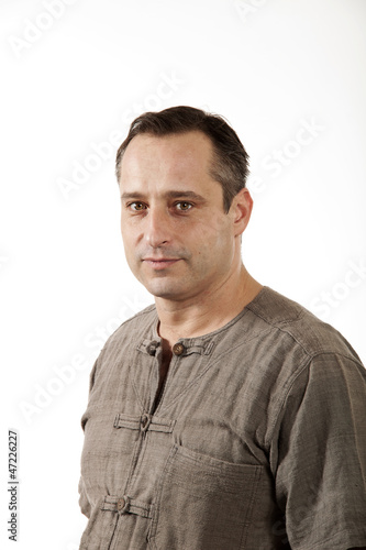 man on white background.