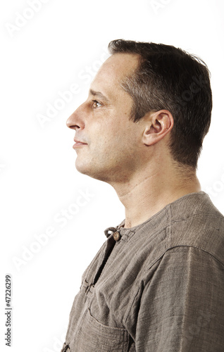 profile man on white background.