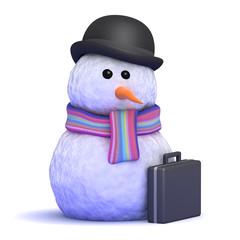 Snowman wears a bowler hat