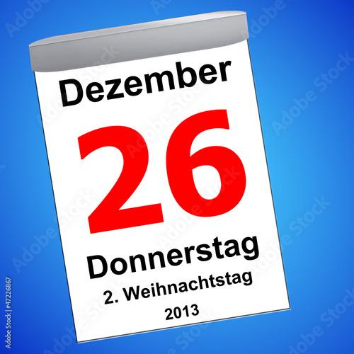 Leinwandbild Motiv Kalender auf blau - 26.12.2013 - 2. Weihnachtstag