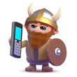 Viking makes a call on his mobile phone
