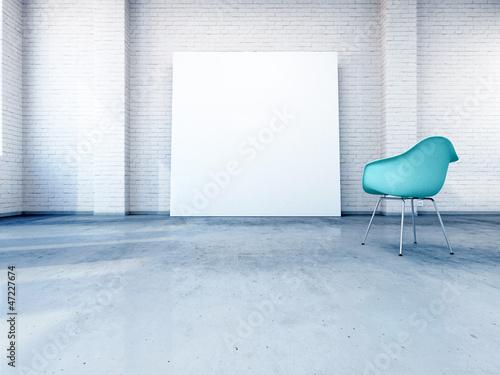Stuhl vor Leinwand im Industrie Loft 3D