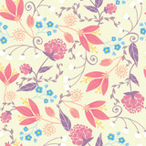 Fototapety Vector fresh field flowers and leaves elegant seamless pattern