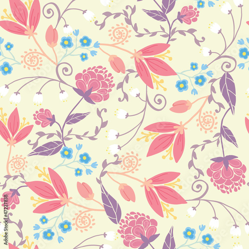 Vector fresh field flowers and leaves elegant seamless pattern