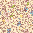 Vector flowers and leaves elegant seamless pattern background