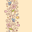 Vector flowers and leaves elegant vertical seamless pattern