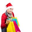 Nikolaus ist glücklich über Weihnachtsschnäppchen, isoliert