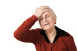 Isolated migraine head ache pained old lady on white background