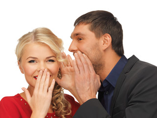 man and woman spreading gossip