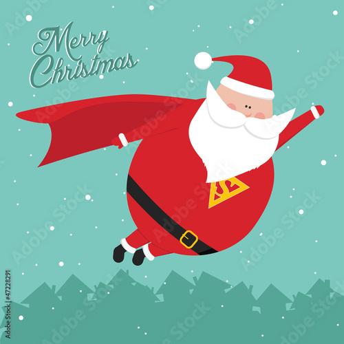 Funny retro vintage merry christmas SantaMan postcard