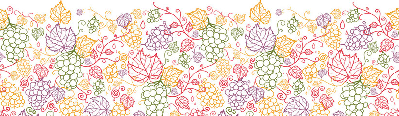 Vector line art grape vines horizontal seamless pattern