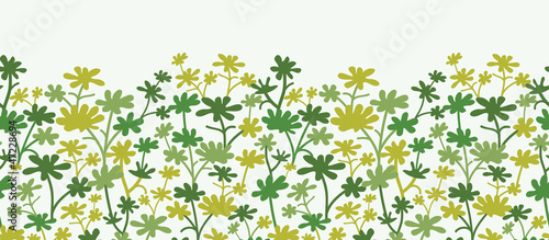 Vector green plants horizontal seamless pattern background with
