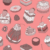 Cute cake. Seamless background.