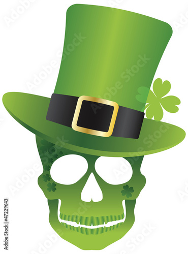 St Patricks Day Skull with Leprechaun Hat Illustration