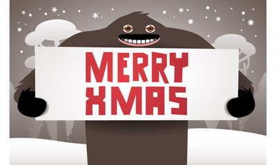 Christmas background with funny bigfoot