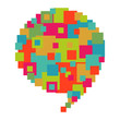 Pixelated diversity speech bubble