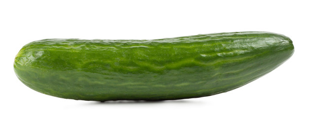 Fragrant green cucumber isolated on white background