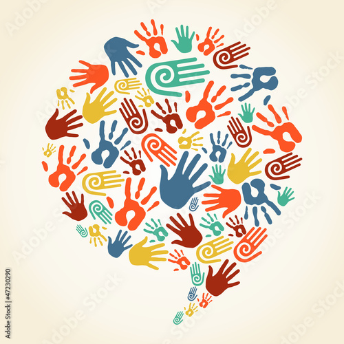Global diversity hand prints speech bubble
