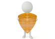 3d humanoid character hold a wood shield
