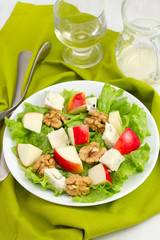salad with cheese gorgonzola and apple on the plate