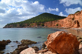 View of Sa Caleta beach in Ibiza, Spain