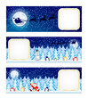 Three Christmas night banners horizontal design