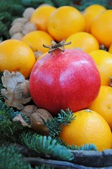 Granatapfel, Nüsse und Mandarinen