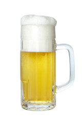 Beer in beer mug with foam, isolated on white