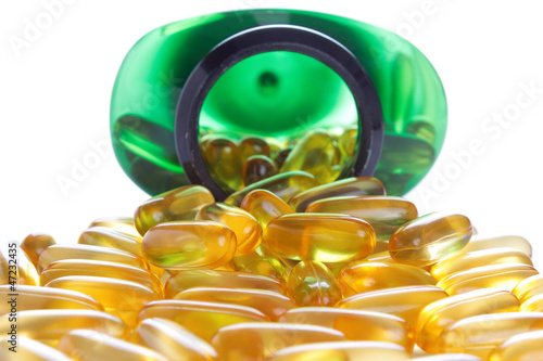Omega 3 vitamin capsules , isolated on white