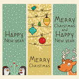 Christmas and new years vertical banners