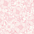Vector red line art flowers elegant seamless pattern background