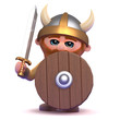 Viking hides behind his shield