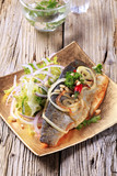 Pan fried trout with green salad
