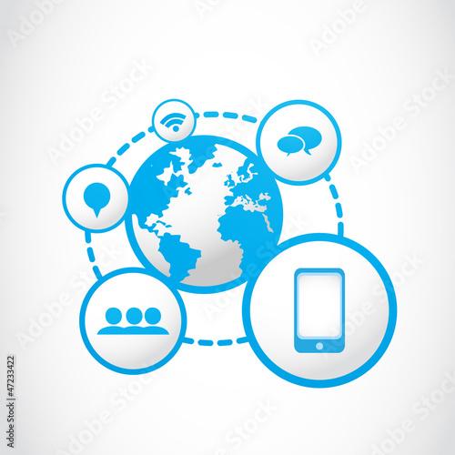 global smartphone social media concept