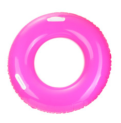 pink life ring isolated on white