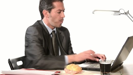 businessman eating unhealthy food