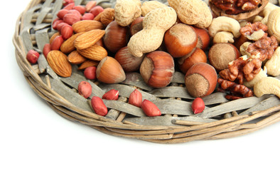 assortment of tasty nuts, isolated on white
