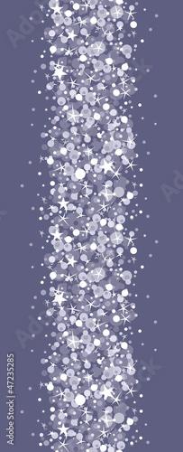 Vector silver sparkles vertical seamless pattern background with
