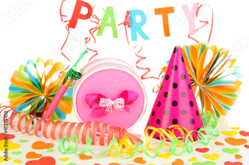 Party decorations isolated on white