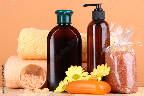 Set for care of a body on peach background