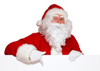 Santa zeigt nach unten