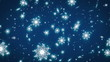Falling snowflakes on a dark blue background