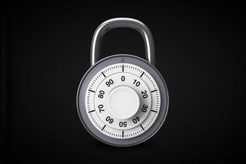 Silver combination padlock