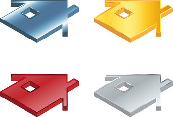 Vector illustration of four metallic house icons