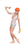 Ballerina in a worker in orange helmet on white background