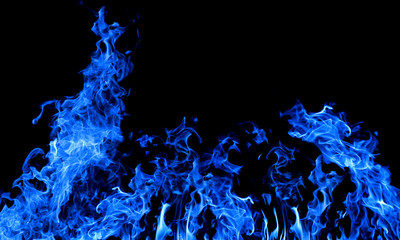 large dark blue fire on black