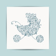 Card with floral pram for your design