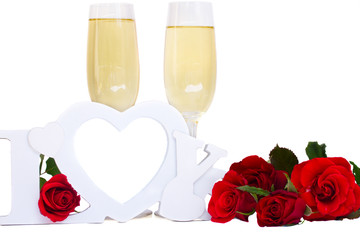 Love sign and  champagne